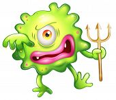 picture of horrifying  - Illustration of a horrified looking green monster on a white background - JPG