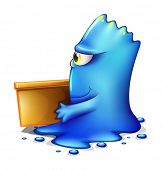 Illustration of a blue monster moving out on a white background