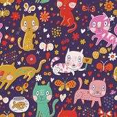 Bright funny childish seamless pattern with cute kittens, flowers, butterflies and aquarium with fish in vector.  Seamless pattern can be used for wallpapers, pattern fills, web page backgrounds