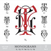 stock photo of initials  - Vintage monogram set - JPG