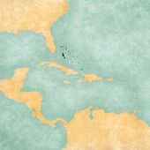 Map Of Caribbean - Bahamas (vintage Series)