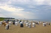 Hooded Beach Chairs At The Baltic Sea In Heringsdorf, Germany