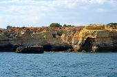 stock photo of vilamoura  - Caves cliffs yellow Albufeira in the Algarve - JPG
