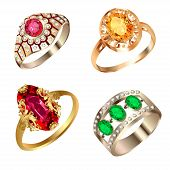 Vintage Ring Set With Precious Stones