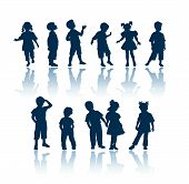 stock photo of male female  - kids 11 silhouettes - JPG