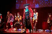 MOSCOW - DEC 15: Actors in role of pirates on stage at Big Concert Hall Izmailovo during musical spe