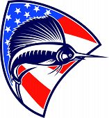 Sailfish Fish Jumping American Flag Shield Retro