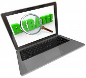 The word Rebate on a computer laptop screen to illustrate online shopping and bargain hunting by searching for a special money saving cash back offer