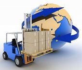 autoloader with boxes on a background a globe. Conception of rapid delivery of loads. 3d illustration.