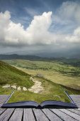 Creative Concept Pages Of Book View From Cadair Idris Mountain North Over Countryside Landscape