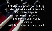 Pledge Of Allegiance over an American flag