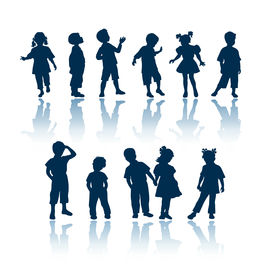 picture of male female  - kids 11 silhouettes - JPG