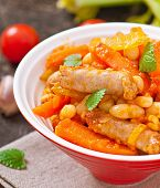 Moroccan stew with sausages