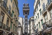 Lisbon, Portugal - April  14, 2013: Santa Justa elevator in the Baixa District. 19th cent. project b