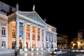 Lisbon, Portugal - September 20, 2013: Dona Maria II National Theatre in Rossio Square, the main squ
