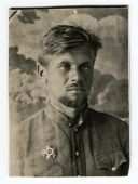 MOSCOW, USSR - CIRCA 1945: An antique photo shows studio portrait of a Red Army officer guerrillas i