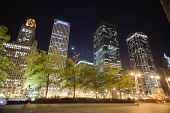 CHICAGO, IL - OCT 4: Chicago downtown at night on October 4, 2011 in Chicago, Illinois. Chicago is t