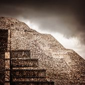 Famous Mexican pyramid, ancient religious ruins on North America, overcast weather, cloudy sky, pre-