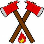foto of fireman  - Cartoon illustration showing a couple of fireman axes over a little flame icon - JPG