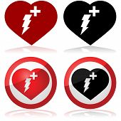 stock photo of defibrillator  - Defibrillator icon set showing a heart with a lightning and a cross inside it - JPG