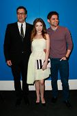 NEW YORK-FEB 24: (L-R) Director Richard LaGravenese, Anna Kendrick and Jeremy Jordan attend the scre