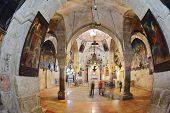 Jerusalem - September 3: Hall of the Holy Sepulchre in September 3, 2012 in Jerusalem. Magnificent h