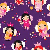 Seamless girls little fairy tale princess in purple illustration background pattern in vector