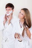Shaving Cream Applied On Face