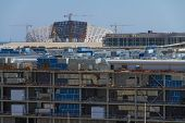 SOCHI, RUSSIA - JUNE 20,2014: Construction of the olympic stadium