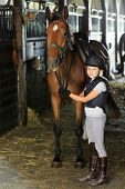 stock photo of stable horse  - Horse and lovely equestrian girl in the stable - JPG