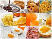 collage of different kinds of breakfast, such as toast, butter and jam, or fried eggs and orange jui
