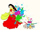 Indian festival Happy Holi celebrations concept with illustration of a young lady in tradition outfits playing colours on beautiful abstract background.