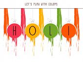Stylish text Holi on colours splash background, concept for Indian colour festival Holi celebrations.