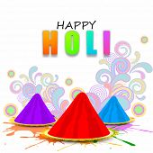 Indian festival Happy Holi celebrations concept with stylish text with colours on floral decorated background.