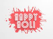 Stylish text Happy Holi in pink colours splash background, concept for Indian colours festival Happy