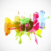 Stylish colourful text Holi on abstract background, concept for Indian festival celebrations.