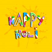 Stylish colourful kiddish text Happy Holi on yellow background, colours festival celebrated in India.