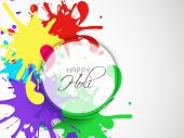 Indian festival Happy Holi celebrations concept with colours splash and stylish text, can be use as sticker, tag or label.