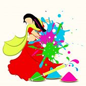 Indian festival Happy Holi celebrations concept with illustration of a young girl in traditional outfits playing with colours on colours splash background.