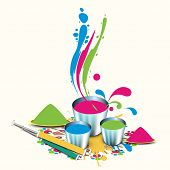Indian festival Happy Holi celebrations concept with powder and liquid colours in bucket, pichkari o