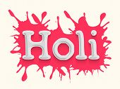 Stylish text Holi in pink colour splash, concept for colours festival celebration in India.