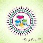 Indian festival Happy Holi celebrations concept with colours powder and stylish hindi text Rang Barse (Raining of colours) on beautiful floral decorated background.
