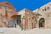 Coptic Orthodox Church courtyard situated on roof of the Church of the Holy Sepulchre in Jerusalem,