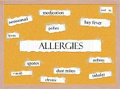 Allergies Corkboard Word Concept