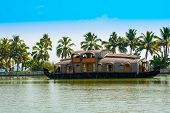 Beautiful Landscape With Reflection Houseboat In Kerala Backwaters, India
