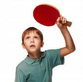 blond boy playing table tennis forehand topspin