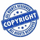 stock photo of plagiarism  - Copyright ink stamp isolated on white background - JPG
