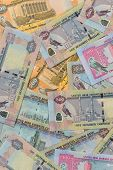 Mixed UAE Dirhams currency notes- above angle