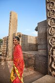 Indian Woman In Mamallapuram Temple