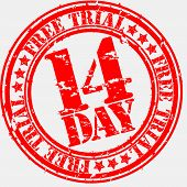 Grunge 14 day free trial rubber stamp, vector illustration